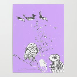 Two Tailed Duck and Jellyfish Purple Grape Poster
