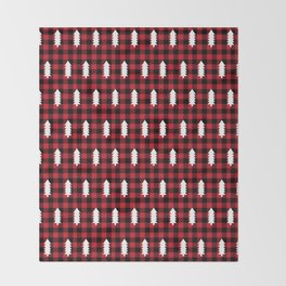 Camping Forest cabin chalet plaid red black and white minimal hipster gifts for festive christmas Throw Blanket