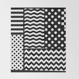 Mixed Patterns (Horizontal Stripes/Polka Dots/Wavy Stripes/Chevron/Checker) Throw Blanket