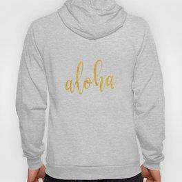 Aloha gold brush script on midnight navy blue glam summer design Hoody