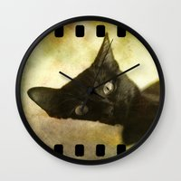 kitty Wall Clocks featuring Kitty by SensualPatterns