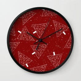 Christmas Trees Red Wall Clock