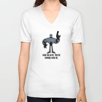 robocop V-neck T-shirts featuring Robocop by Steve Musgrave
