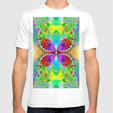 Abstract Jewel Butterfly  Mens Fitted Tee MEDIUM White