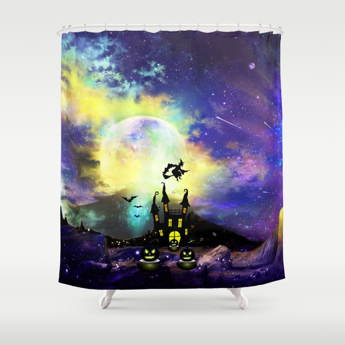 Witch In Starry Night Shower Curtain