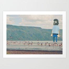 Self portrait in balaclava Art Print