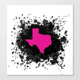 Hot Pink State of Texas with Black Ink Splatter Canvas Print