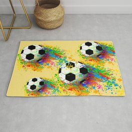 Football soccer sports colorful graphic design Rug