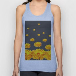 FLOATING YELLOW FLOWERS CHARCOAL GREY Unisex Tank Top