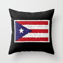 Puerto Rican flag with distressed textures Throw Pillow
