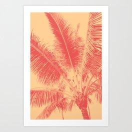 Mango Coral Tropical Palma Art Print