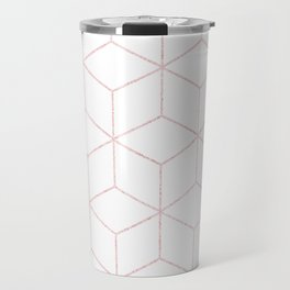 Simply Cubes in Rose Gold Sunset Travel Mug