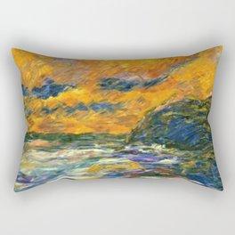 Brilliant Orange-Gold Sunset on the Autumn Sea landscape portrait painting by Emil Nolde Rectangular Pillow