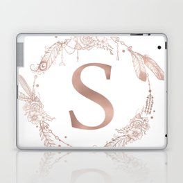 Letter S Rose Gold Pink Initial Monogram Laptop & iPad Skin