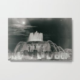 Chicago Moonlit Fountain Vintage Inspired Illinois Metal Print
