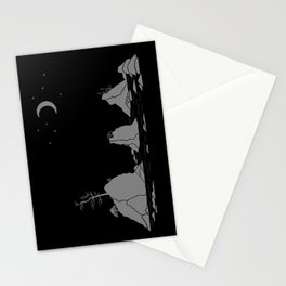 Moon Over Three Graces Grey on Black Stationery Cards