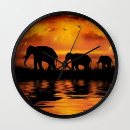 Elephant Safari Wall Clock