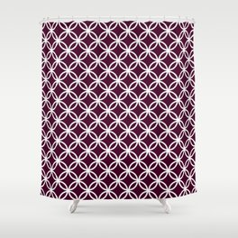 Burgundy red and white interlocking circles Shower Curtain