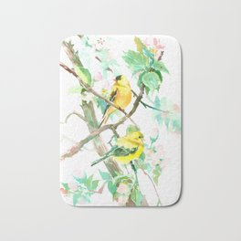 American Goldfinch and Apple Blossom Bath Mat