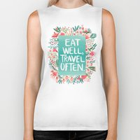 eat Biker Tanks featuring Eat Well, Travel Often Bouquet  by Cat Coquillette