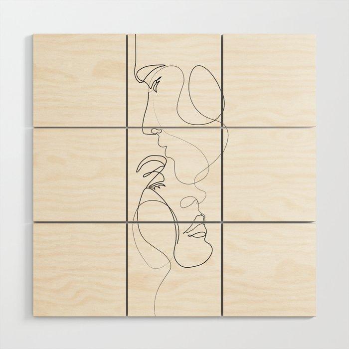 Lovers - Minimal Line Drawing Art Print 2 Wood Wall Art