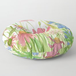 Watercolor Garden Flower Poppies Lupine Coneflower Wildflower Floor Pillow