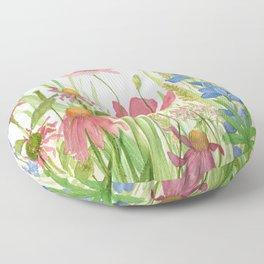 Watercolor Garden Flower Poppies Lupine Coneflower Wildflower Floor Pillow