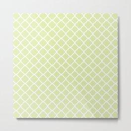 Modern pastel green white moroccan quatrefoil pattern Metal Print