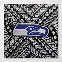 seahawks Canvas Prints featuring Seahawks poly style by Lonica Photography & Poly Designs