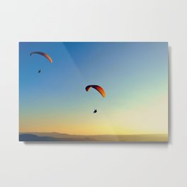 two paragliders in the sky Metal Print