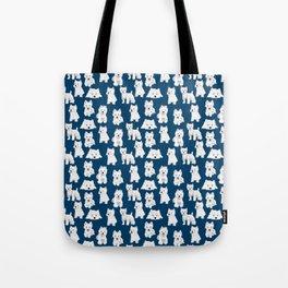 Westies on Blue Tote Bag
