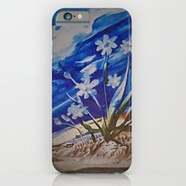 White desert flowers with a blue sky iPhone Case