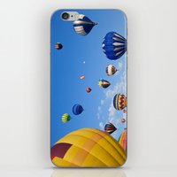 hot air balloons iPhone & iPod Skins featuring Vibrant Hot Air Balloons by Nicolas Raymond