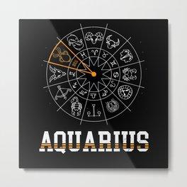 Aquarius Zodiac Sign Ascendant Horoscope Metal Print