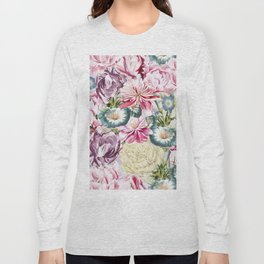 Vintage & Shabby chic -  Retro Spring Flower Pattern Long Sleeve T-shirt