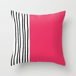 Stripes & Strawberry Pink Throw Pillow