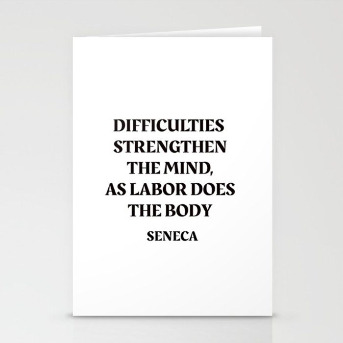 DIFFICULTIES - Seneca Stoic Quote Stationery Cards