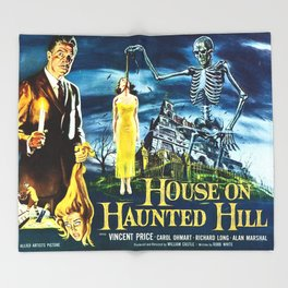 House on Haunted Hill, vintage horror movie poster Throw Blanket