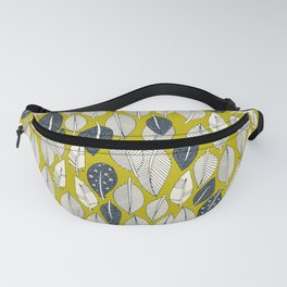 leaves and feathers chartreuse Fanny Pack