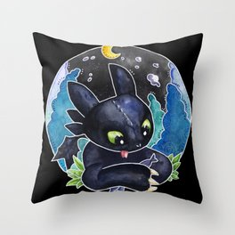 Baby Toothless Night Fury Dragon Watercolor black bg Throw Pillow