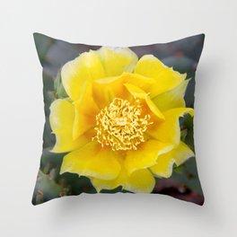 Yellow Cactus Flower 2 Throw Pillow