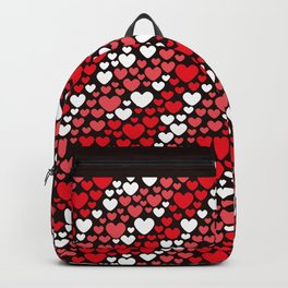 Valentine Red Coral and White Streams of Hearts Backpack