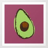 avocado Art Prints featuring avocado  by Marzipan