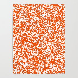 Small Spots - White and Dark Orange Poster