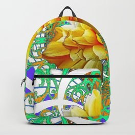 BEAUTIFUL LACY GREEN ART  & YELLOW ROSE DESIGN Backpack