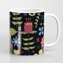 folky floral pattern on black Coffee Mug