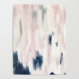 Blush Pink and Blue Pretty Abstract Poster