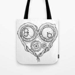 Chemistry of love: dopamine and serotonin formula (black and white version) Tote Bag