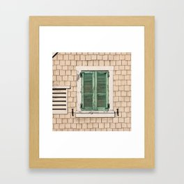 Coastal Cottage Photograph in peach and green Framed Art Print