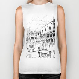 Sketch of San Marco Square in Venice Biker Tank